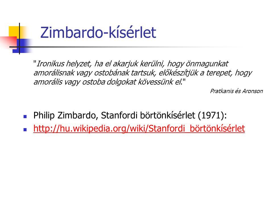 Zimbardo-kísérlet Philip Zimbardo, Stanfordi börtönkísérlet (1971):