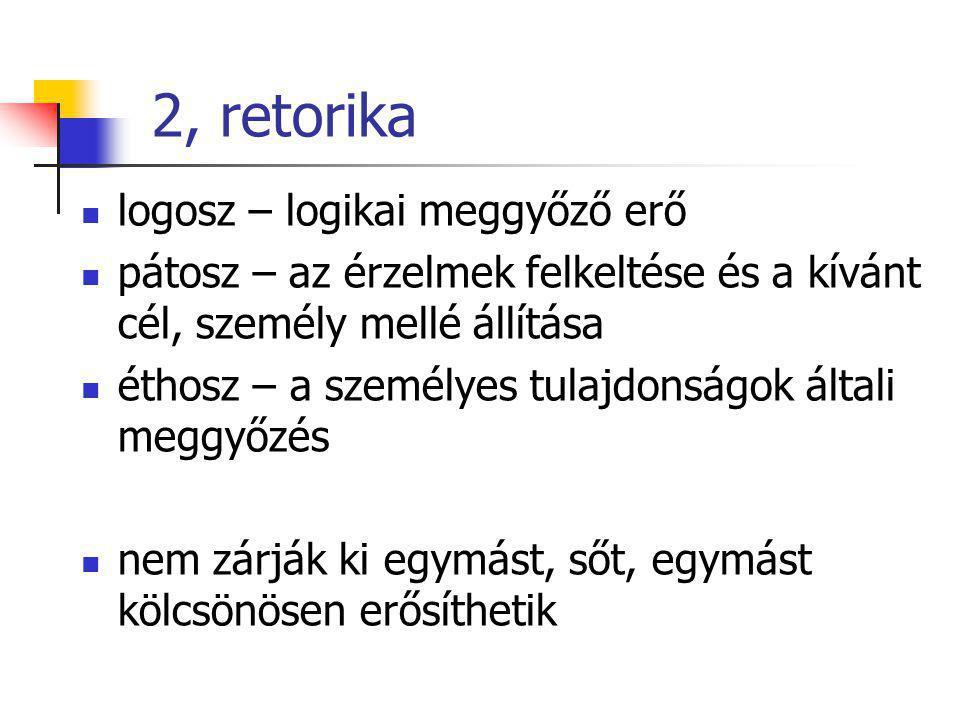 2, retorika logosz – logikai meggyőző erő