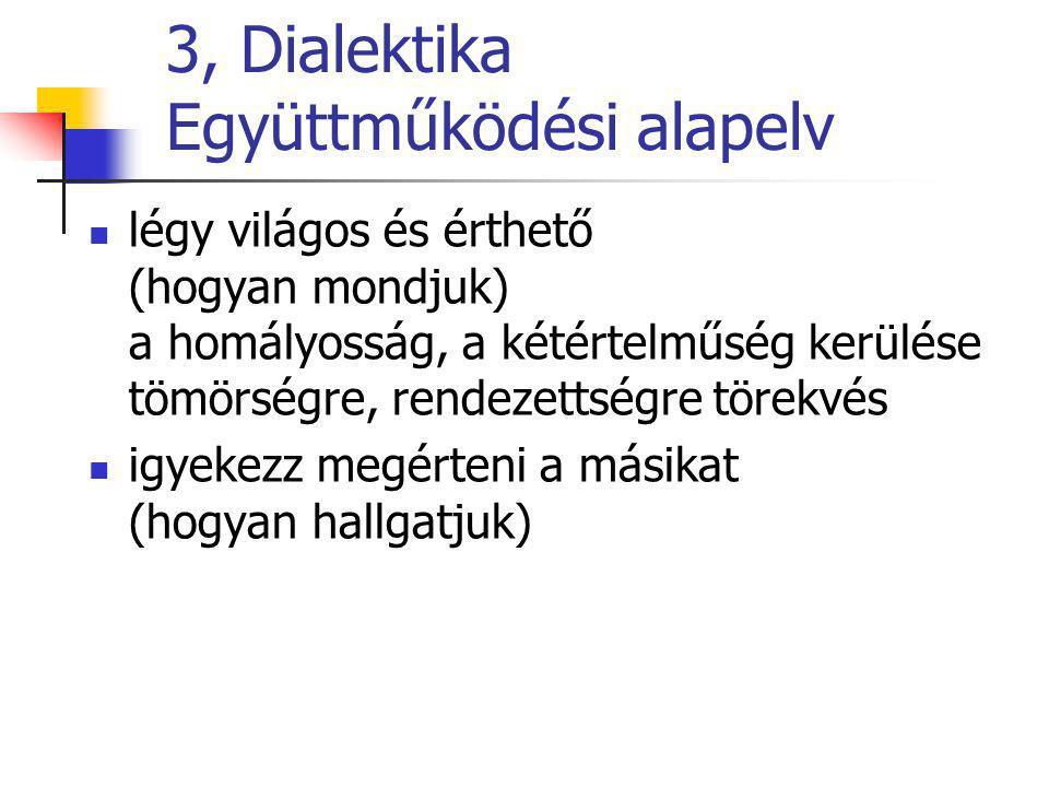 3, Dialektika Együttműködési alapelv