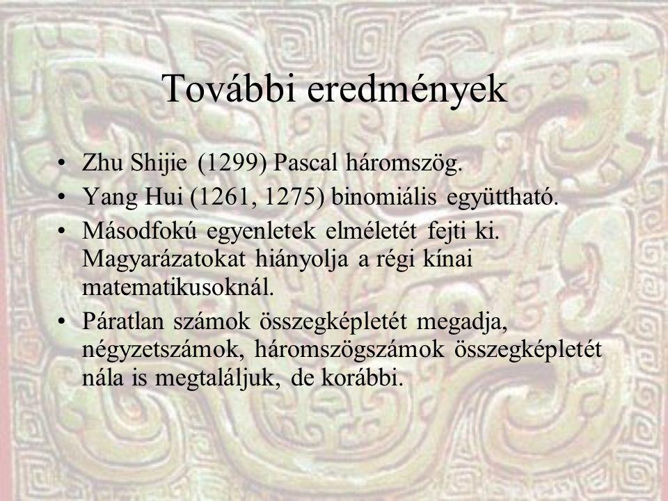 További eredmények Zhu Shijie (1299) Pascal háromszög.