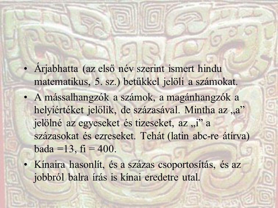 Árjabhatta (az első név szerint ismert hindu matematikus, 5. sz