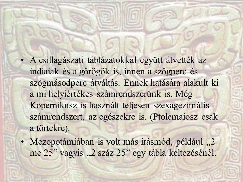 A csillagászati táblázatokkal együtt átvették az indiaiak és a görögök is, innen a szögperc és szögmásodperc átváltás. Ennek hatására alakult ki a mi helyiértékes számrendszerünk is. Még Kopernikusz is használt teljesen szexagezimális számrendszert, az egészekre is. (Ptolemaiosz csak a törtekre).