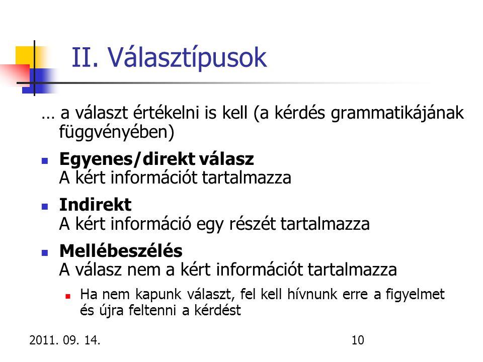 II. Választípusok … a választ értékelni is kell (a kérdés grammatikájának függvényében) Egyenes/direkt válasz A kért információt tartalmazza.