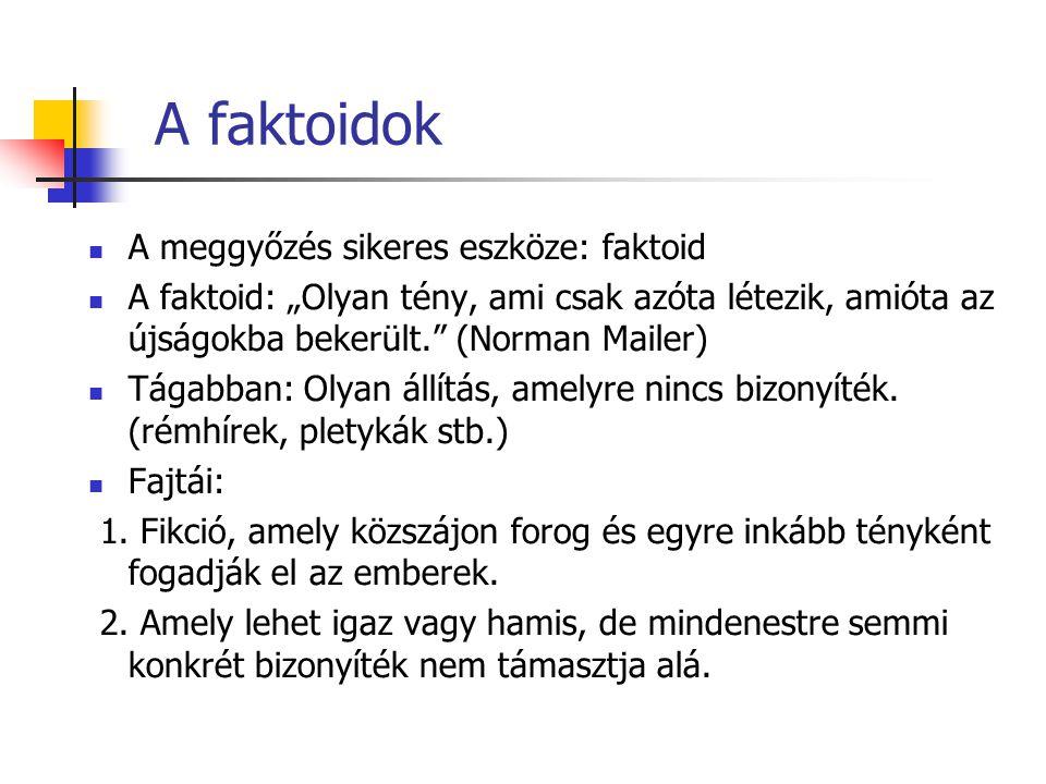 A faktoidok A meggyőzés sikeres eszköze: faktoid