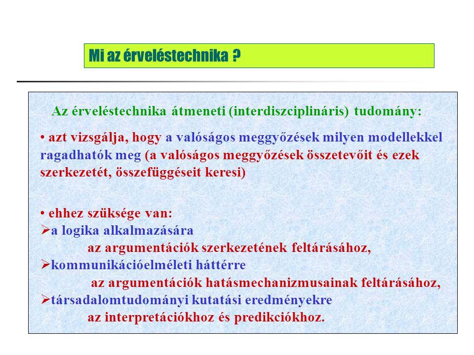 Mi az érveléstechnika Az érveléstechnika átmeneti (interdiszciplináris) tudomány: