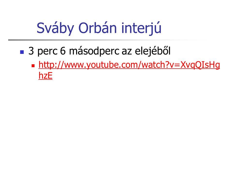 Sváby Orbán interjú 3 perc 6 másodperc az elejéből