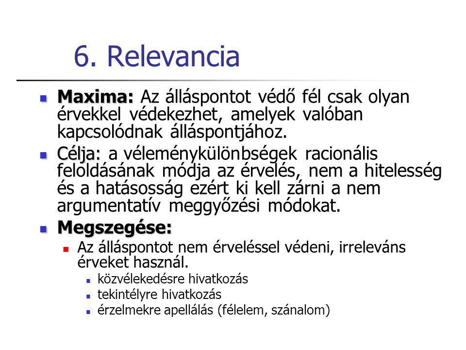6. Relevancia Maxima: Az álláspontot védő fél csak olyan érvekkel védekezhet, amelyek valóban kapcsolódnak álláspontjához.