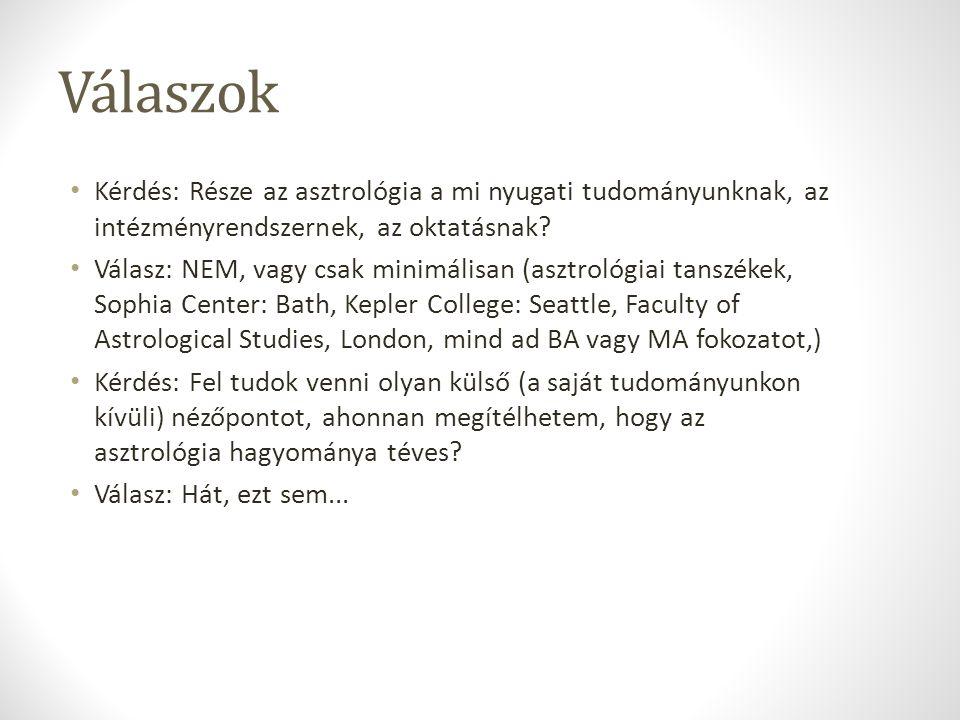 Válaszok Kérdés: Része az asztrológia a mi nyugati tudományunknak, az intézményrendszernek, az oktatásnak