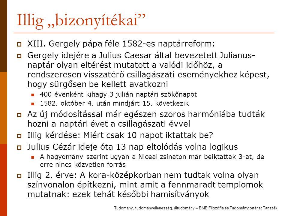 """Illig """"bizonyítékai XIII. Gergely pápa féle 1582-es naptárreform:"""