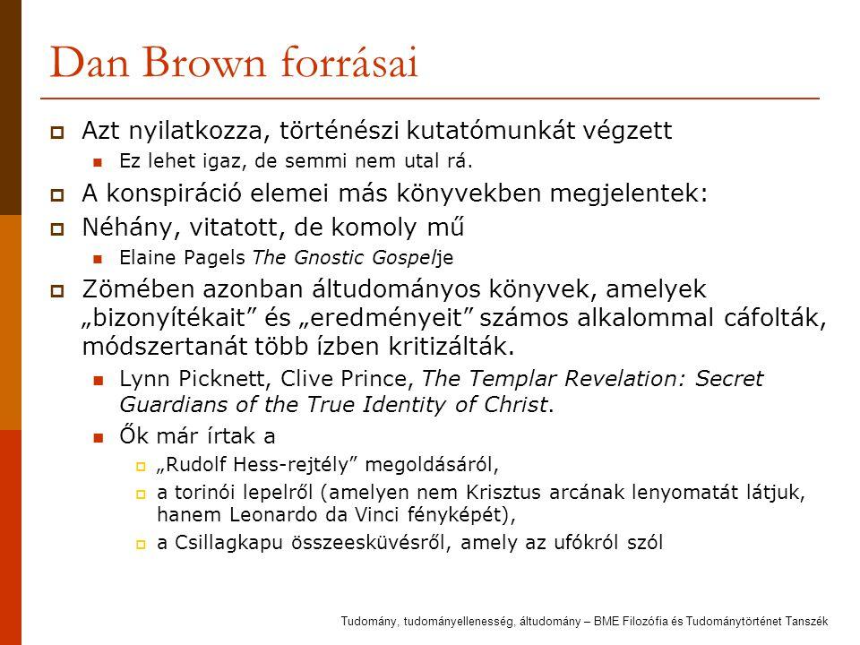 Dan Brown forrásai Azt nyilatkozza, történészi kutatómunkát végzett