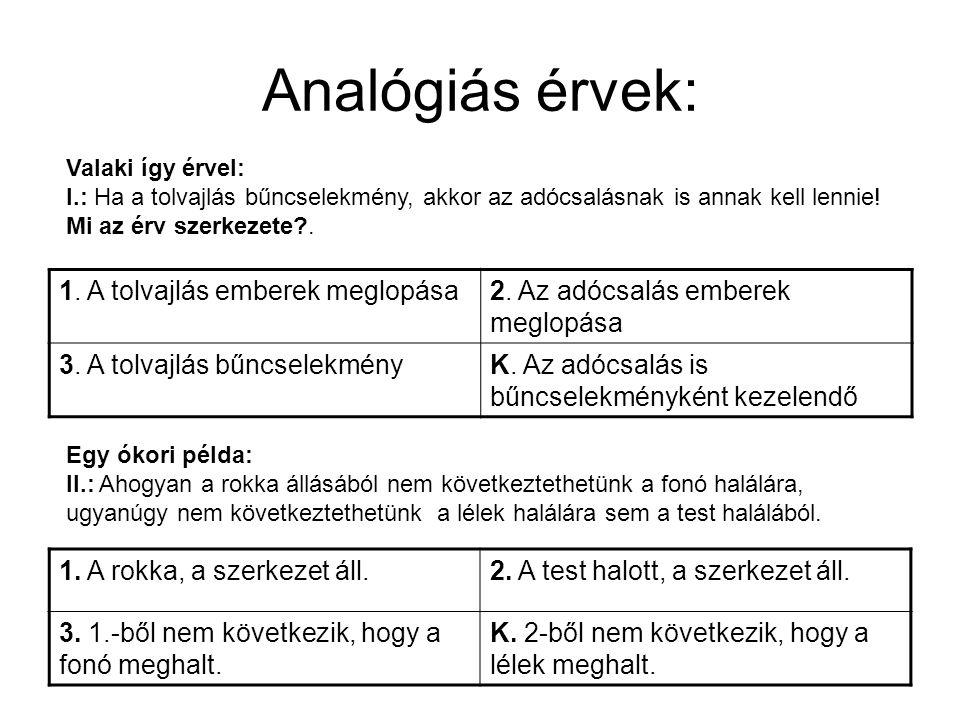 Analógiás érvek: 1. A tolvajlás emberek meglopása
