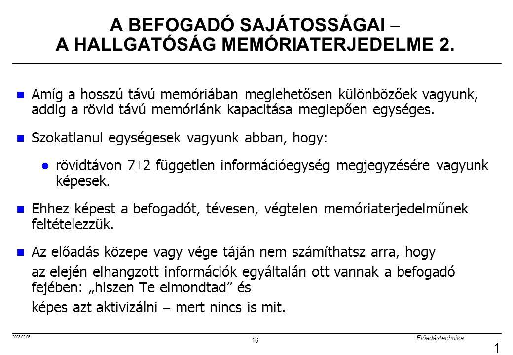 A BEFOGADÓ SAJÁTOSSÁGAI  A HALLGATÓSÁG MEMÓRIATERJEDELME 2.