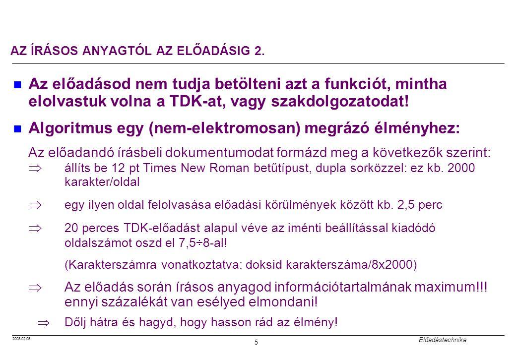 AZ ÍRÁSOS ANYAGTÓL AZ ELŐADÁSIG 2.