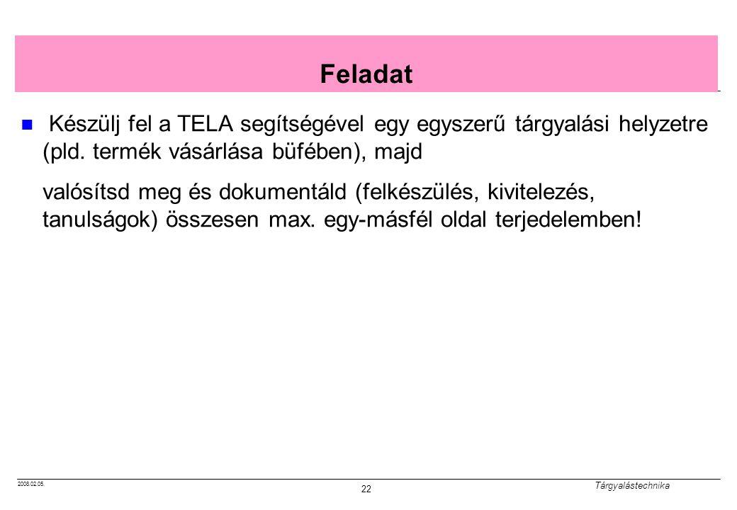 Feladat Készülj fel a TELA segítségével egy egyszerű tárgyalási helyzetre (pld. termék vásárlása büfében), majd.