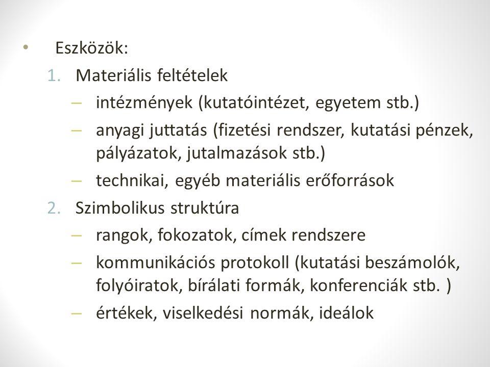 Eszközök: Materiális feltételek. intézmények (kutatóintézet, egyetem stb.)