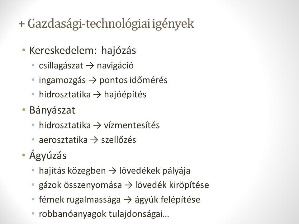 + Gazdasági-technológiai igények