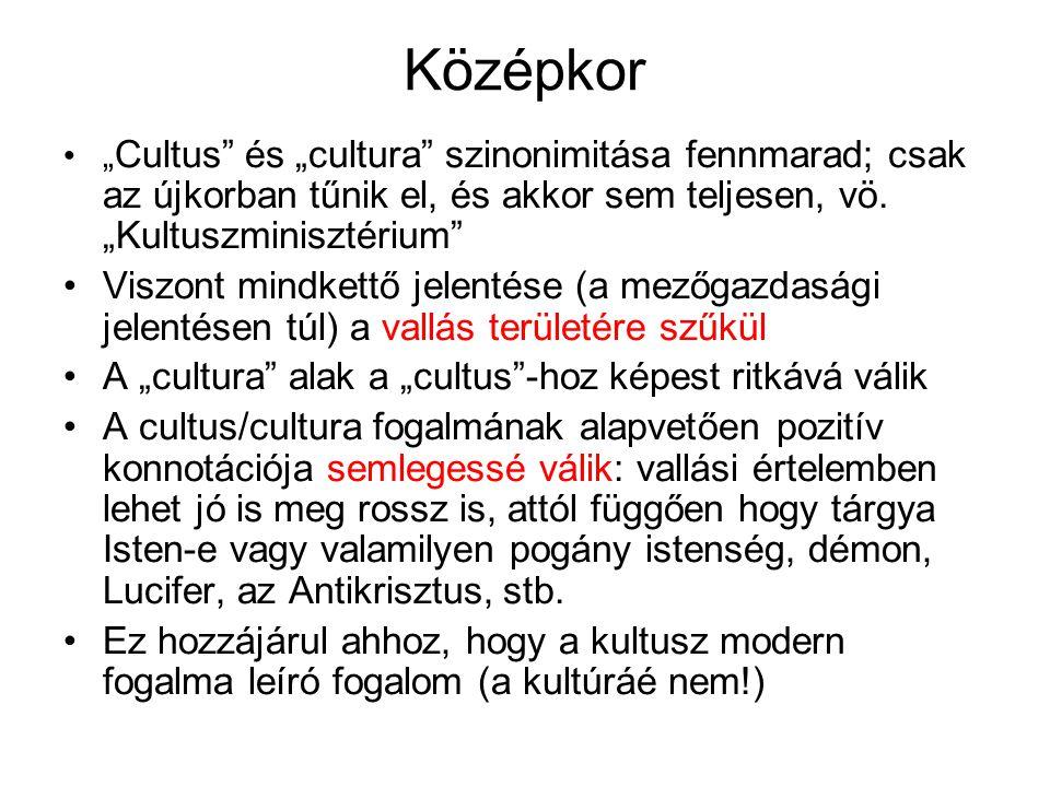 """Középkor """"Cultus és """"cultura szinonimitása fennmarad; csak az újkorban tűnik el, és akkor sem teljesen, vö. """"Kultuszminisztérium"""