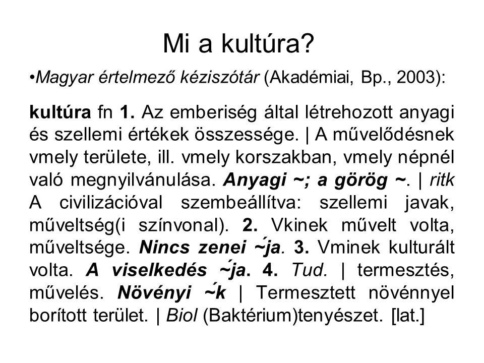 Mi a kultúra Magyar értelmező kéziszótár (Akadémiai, Bp., 2003):