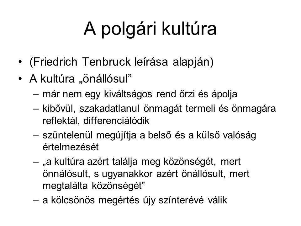 A polgári kultúra (Friedrich Tenbruck leírása alapján)