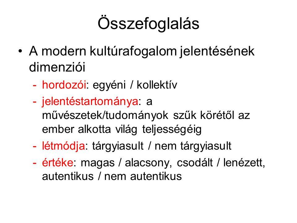 Összefoglalás A modern kultúrafogalom jelentésének dimenziói