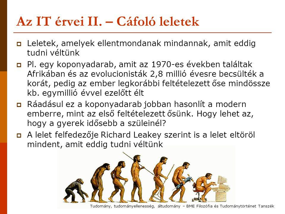 Az IT érvei II. – Cáfoló leletek