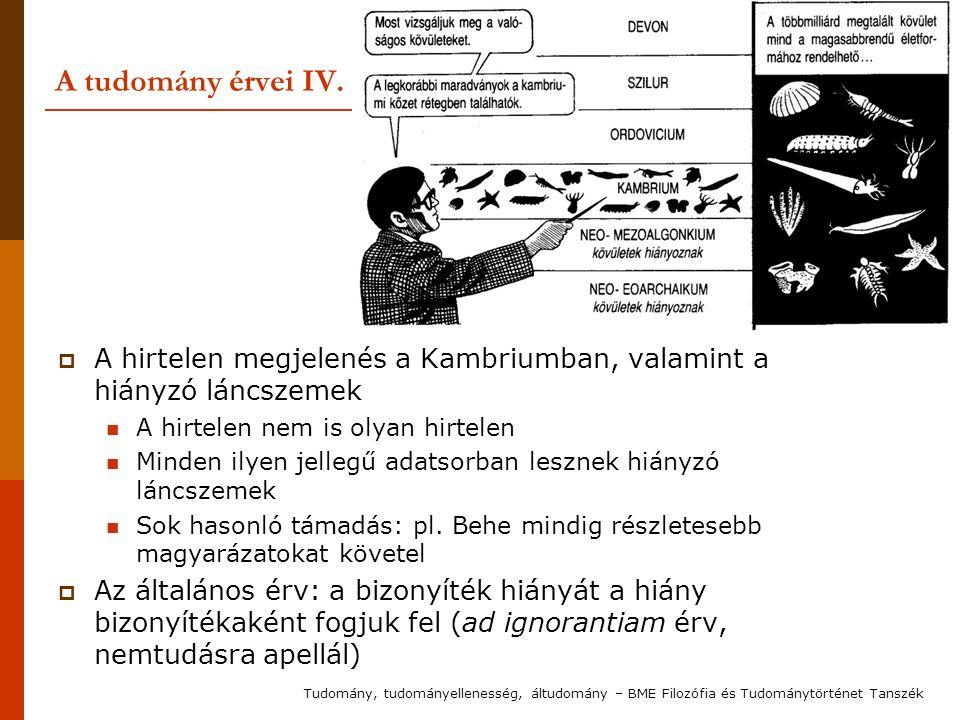 A tudomány érvei IV. A hirtelen megjelenés a Kambriumban, valamint a hiányzó láncszemek. A hirtelen nem is olyan hirtelen.