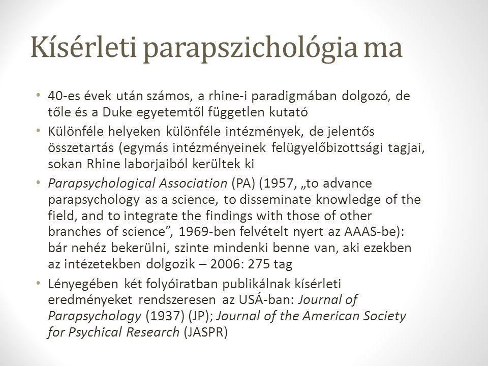 Kísérleti parapszichológia ma