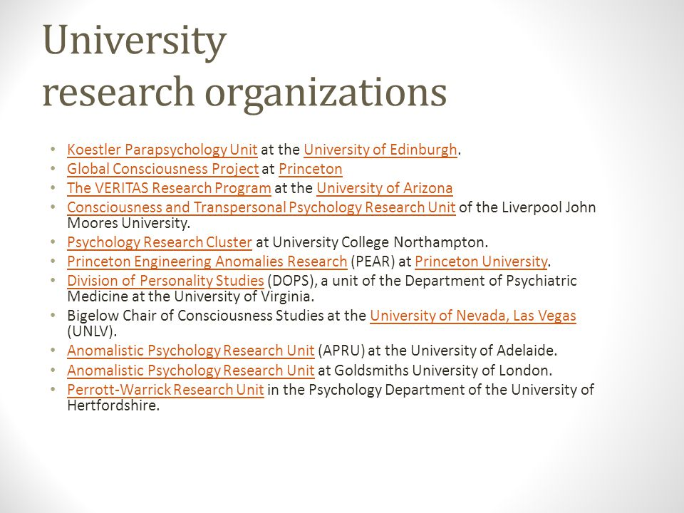 University research organizations