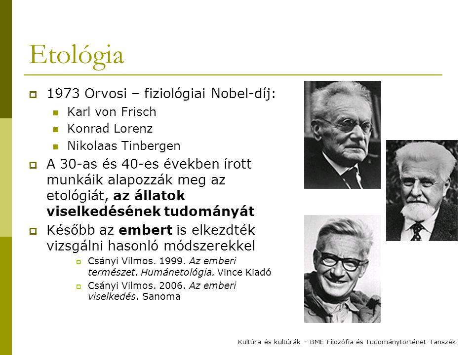 Etológia 1973 Orvosi – fiziológiai Nobel-díj: