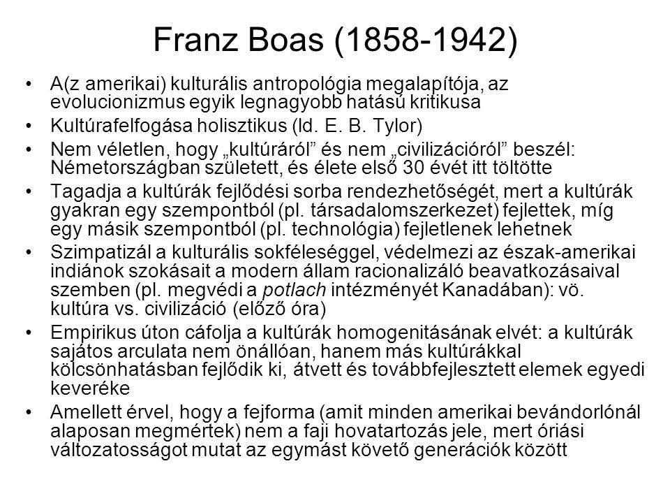 Franz Boas (1858-1942) A(z amerikai) kulturális antropológia megalapítója, az evolucionizmus egyik legnagyobb hatású kritikusa.