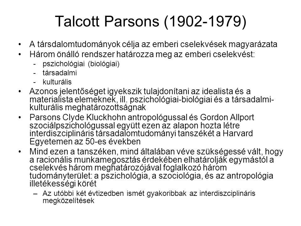 Talcott Parsons (1902-1979) A társdalomtudományok célja az emberi cselekvések magyarázata. Három önálló rendszer határozza meg az emberi cselekvést:
