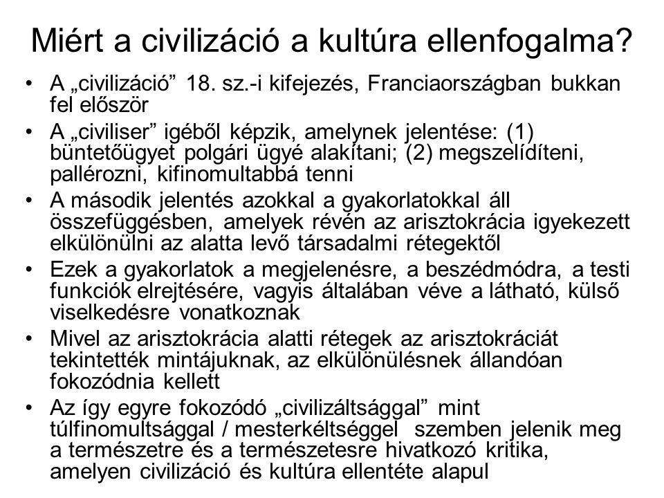 Miért a civilizáció a kultúra ellenfogalma