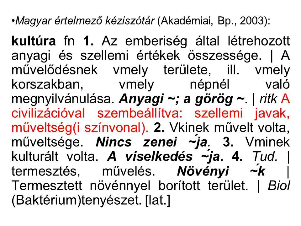 Magyar értelmező kéziszótár (Akadémiai, Bp., 2003):