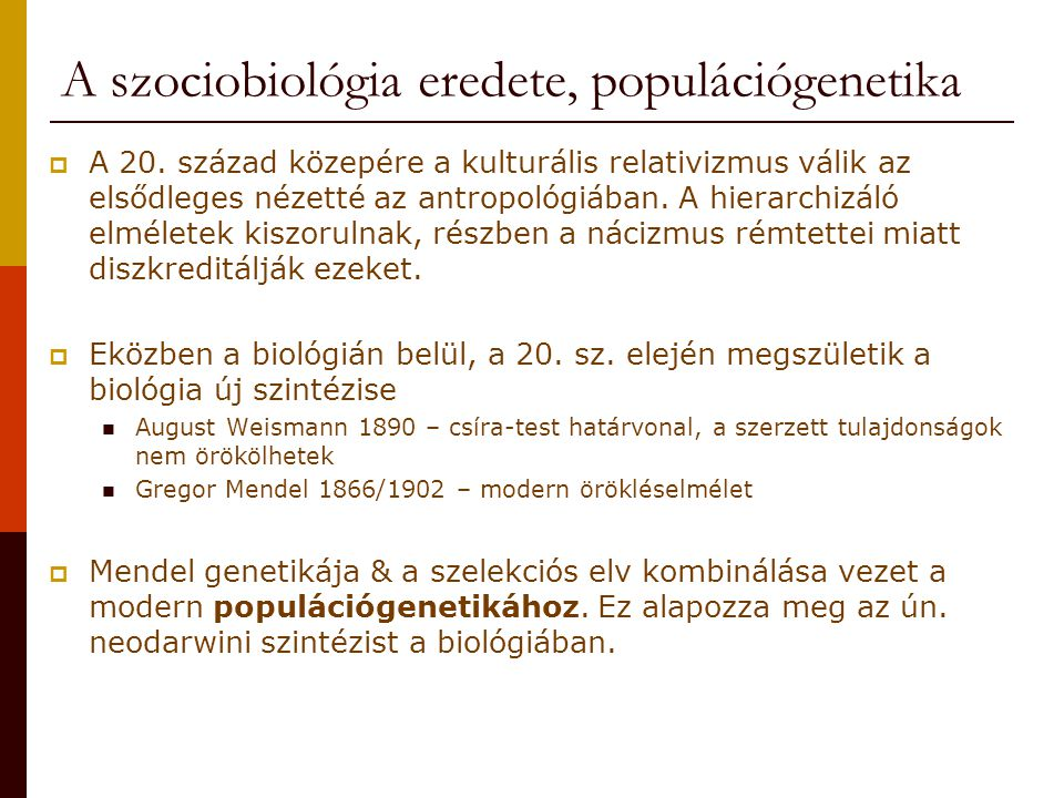 A szociobiológia eredete, populációgenetika