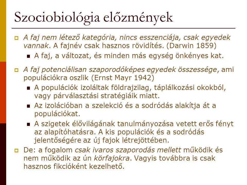 Szociobiológia előzmények