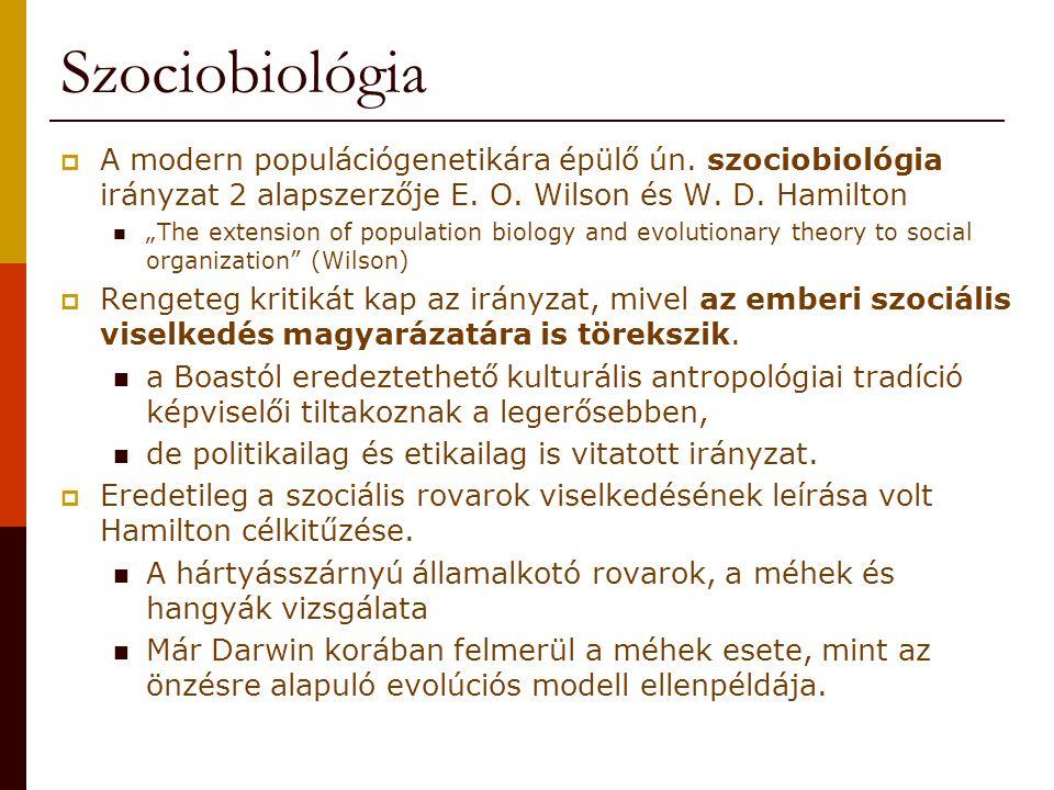 Szociobiológia A modern populációgenetikára épülő ún. szociobiológia irányzat 2 alapszerzője E. O. Wilson és W. D. Hamilton.