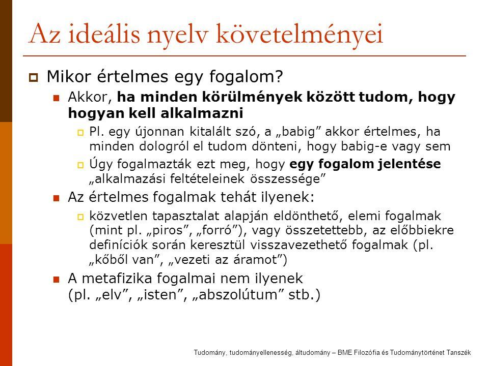 Az ideális nyelv követelményei