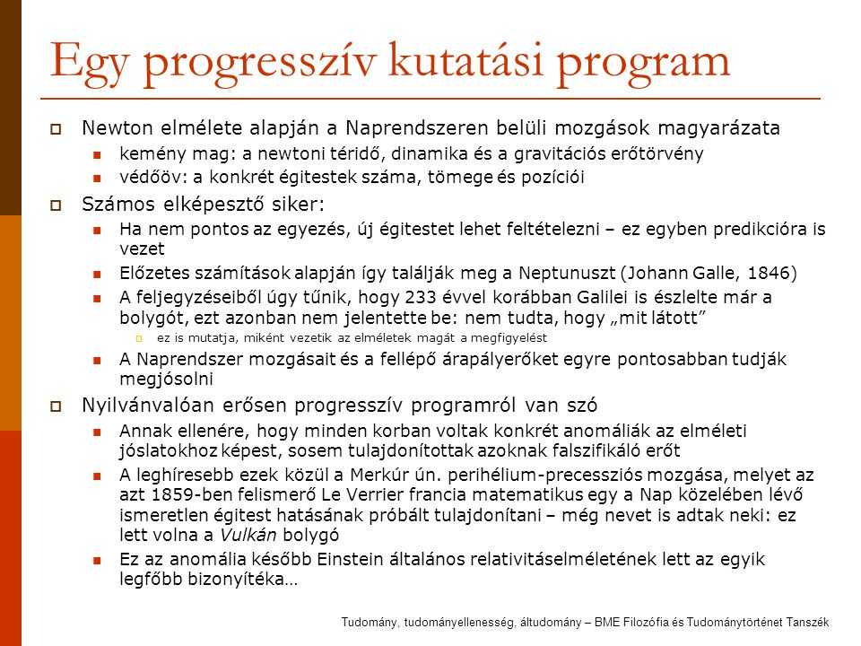 Egy progresszív kutatási program