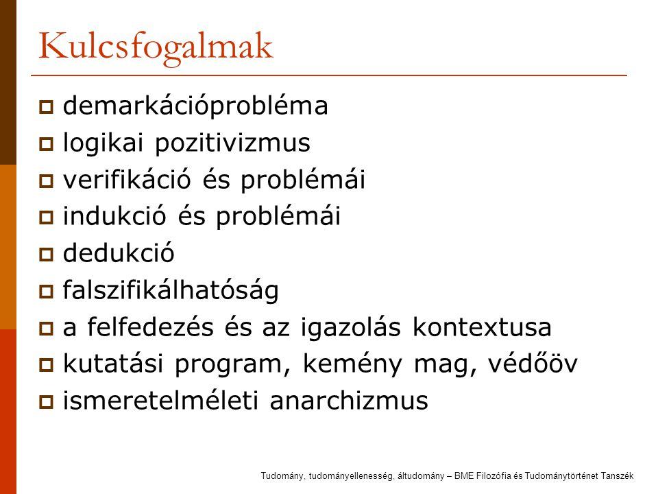 Kulcsfogalmak demarkációprobléma logikai pozitivizmus