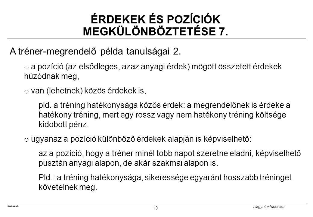 ÉRDEKEK ÉS POZÍCIÓK MEGKÜLÖNBÖZTETÉSE 7.
