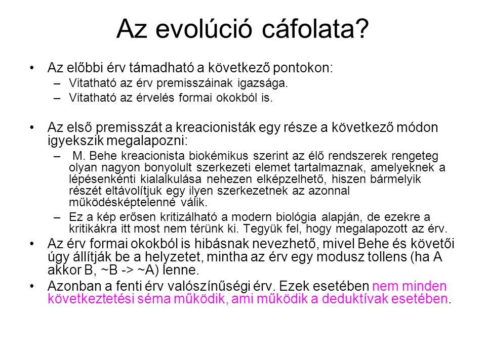 Az evolúció cáfolata Az előbbi érv támadható a következő pontokon: