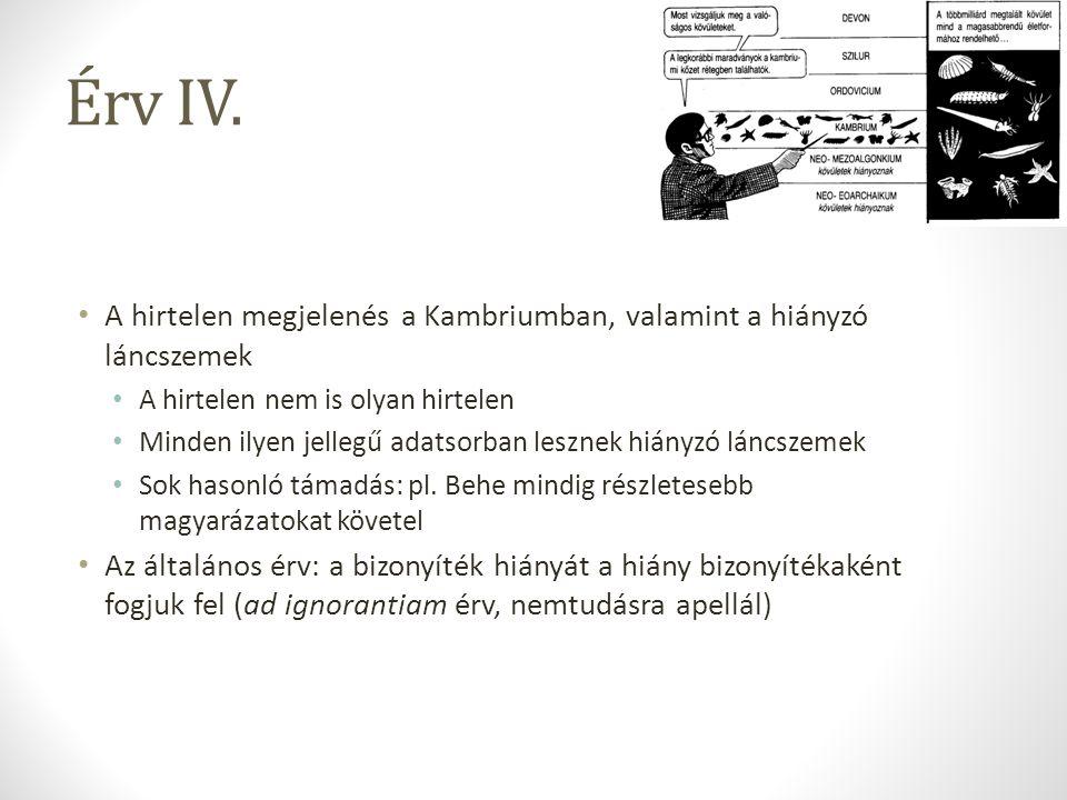 Érv IV. A hirtelen megjelenés a Kambriumban, valamint a hiányzó láncszemek. A hirtelen nem is olyan hirtelen.