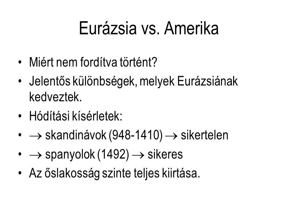 Eurázsia vs. Amerika Miért nem fordítva történt