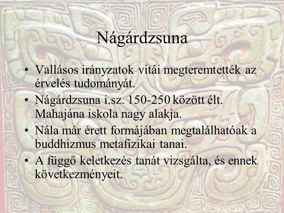 Nágárdzsuna Vallásos irányzatok vitái megteremtették az érvelés tudományát. Nágárdzsuna i.sz. 150-250 között élt. Mahajána iskola nagy alakja.