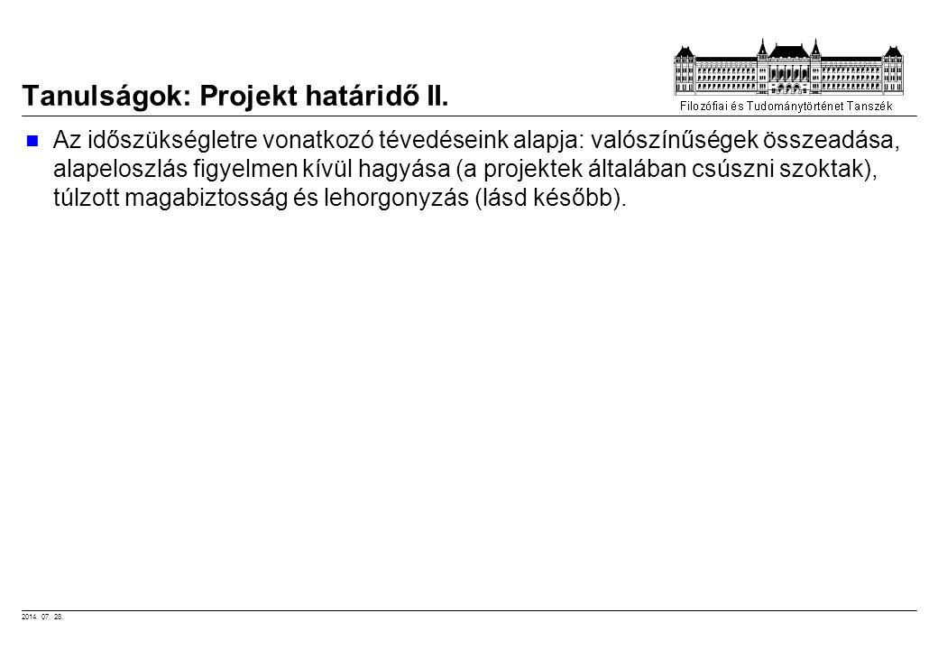Tanulságok: Projekt határidő II.