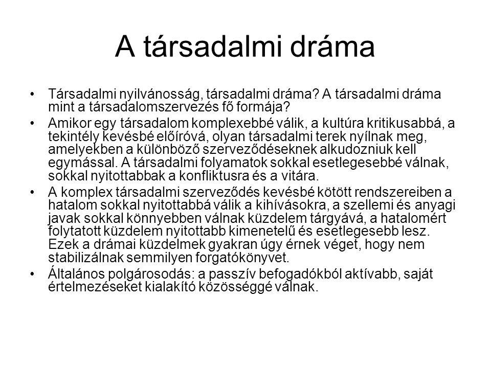 A társadalmi dráma Társadalmi nyilvánosság, társadalmi dráma A társadalmi dráma mint a társadalomszervezés fő formája