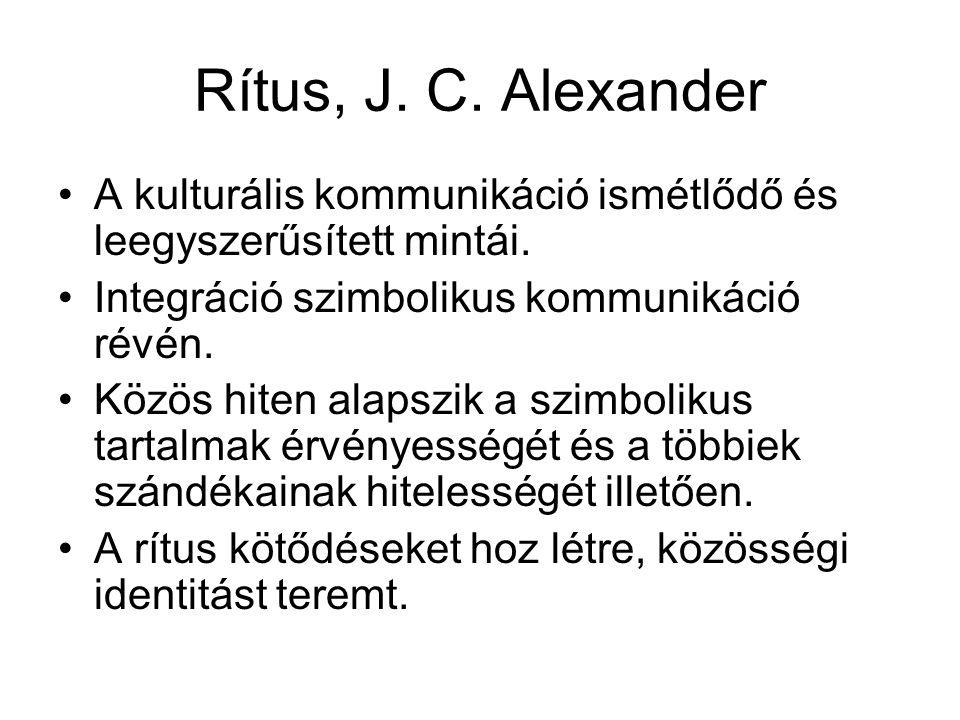 Rítus, J. C. Alexander A kulturális kommunikáció ismétlődő és leegyszerűsített mintái. Integráció szimbolikus kommunikáció révén.