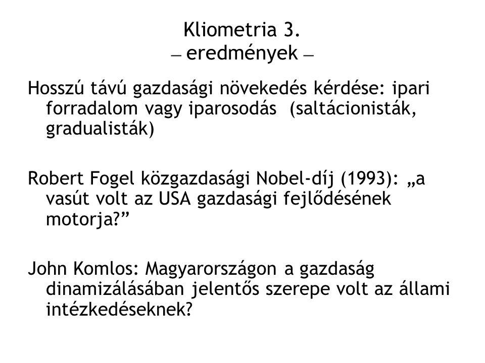 Kliometria 3. – eredmények –