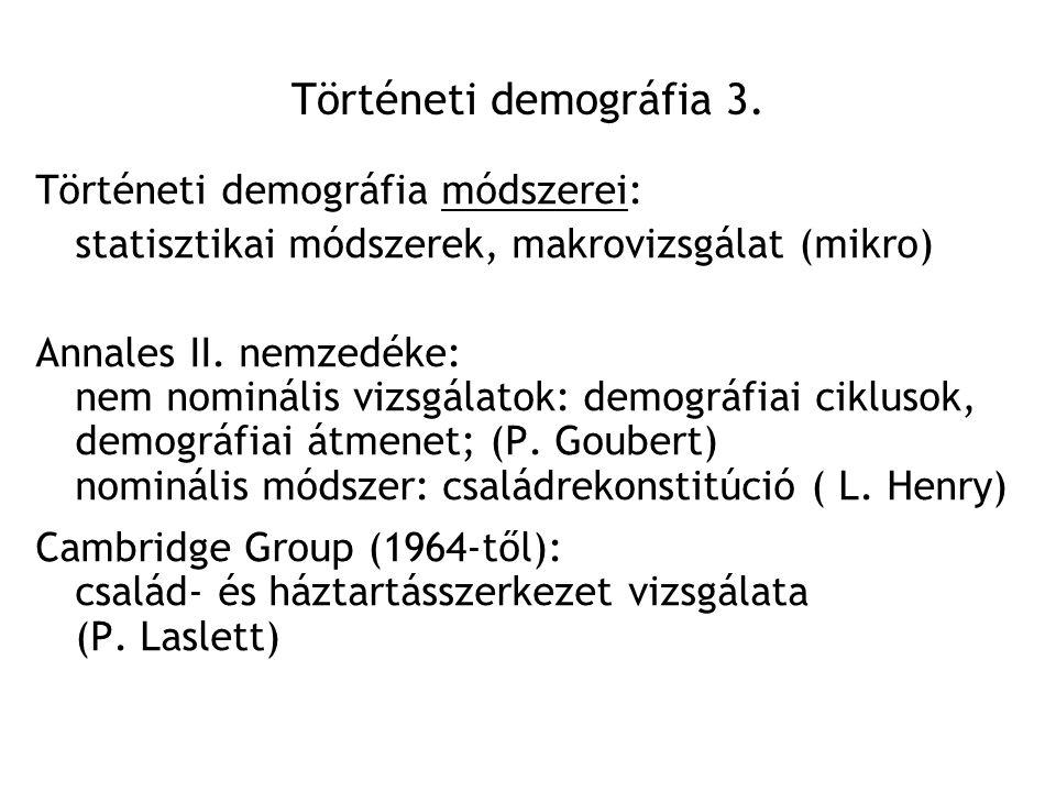 Történeti demográfia 3. Történeti demográfia módszerei: