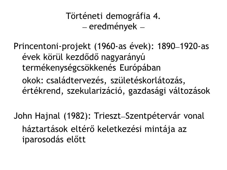 Történeti demográfia 4. – eredmények –